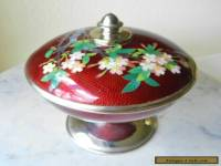 Antique SATO Japanese Cloisonne Covered Dish Pigeon's Blood Vase