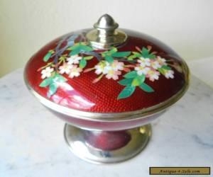 Antique SATO Japanese Cloisonne Covered Dish Pigeon's Blood Vase for Sale