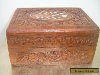 Vintage Wood Carved Floral Jewelry Box/similar with painted decoration on lid.
