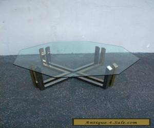 Mid-Century Octagonal Brass & Chrome Glass-Top Coffee Table 5091 for Sale