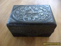 antique arts and crafts wooden box pewter panels