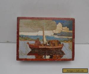 Vintage Wooden Box with Picture Inlay for Sale