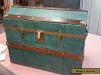 Antique Victorian Oak Wood & Metal Dome Top Steamer Trunk Vintage Chest