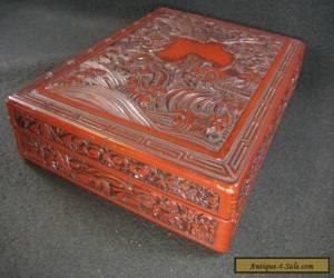 VINTAGE JAPANESE CINNABAR SUZURIBAKO LIDDED CALLIGRAPHY BOX DRAGON PHOENIX  for Sale