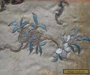 Antique 19th Century Chinese Silk Embroidery's With  Bats & Flowers x 2 for Sale