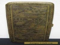 Japanese Engraved Damascene Cigarette Case with Dragons, Urban Scene