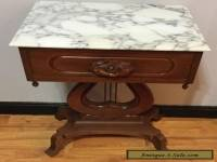 Vintage Genuine Solid Mahogany Rose Carved Marble Top Table Ornate With Drawer