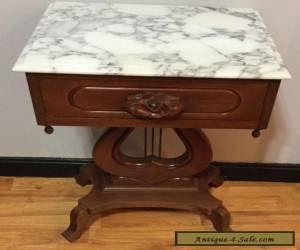 Vintage Genuine Solid Mahogany Rose Carved Marble Top Table Ornate With Drawer for Sale