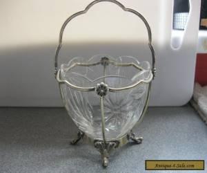 VINTAGE GLASS SUGAR BOWL IN SILVER HOLDER for Sale