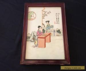Chinese Famille Rose Porcelain Plaque in Wood Frame for Sale