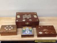ANTIQUE JOB LOT WOODEN BOXES WITH BRASS INLAY