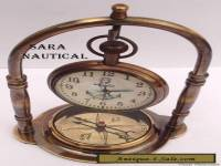 ANTIQUE STYLE BRASS TABLE/DESK CLOCK WITH VINTAGE MARITIME BRASS COMPASS