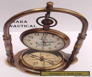 ANTIQUE STYLE BRASS TABLE/DESK CLOCK WITH VINTAGE MARITIME BRASS COMPASS for Sale