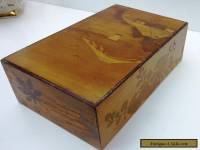 VINTAGE  WOODEN  MARQUETRY BOX FOR JEWELLERY ETC - secret opening drawer