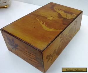 VINTAGE  WOODEN  MARQUETRY BOX FOR JEWELLERY ETC - secret opening drawer for Sale