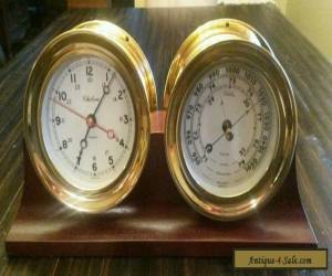 Chelsea Brass Clock & Barometer with Wood Stand for Sale