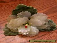 Beautiful Vintage Carved Jade Leaf flower