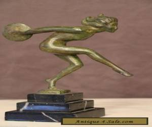 French BRONZE ART DECO DANCER STATUE nude lady sculpture marble Bourain Nymph for Sale