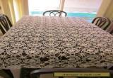 Antique CROCHETED LACY TABLECLOTH Large oblong fancy intricate cloth needs TLC for Sale