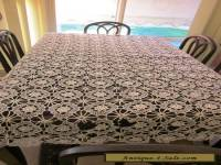 Antique CROCHETED LACY TABLECLOTH Large oblong fancy intricate cloth needs TLC