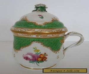 Royal Vienna Hand Painted Porcelain Pot de Creme Flower Finial & Twist Handle for Sale