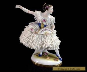 Vintage Volkstedt Dresden Lace Dress Dancing Woman Lady with Fan Figurine Gilt  for Sale