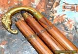 Brass Elephant Head Antique Style Gentlemen's Cane Designer Wood Walking Stick for Sale