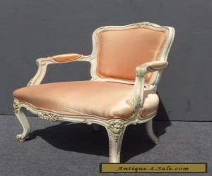 Beautiful Vintage French Provincial White Carved Wood Accent ARM CHAIR Coral  for Sale