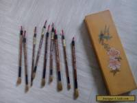 Nine vintage Chinese calligraphy brushes with box