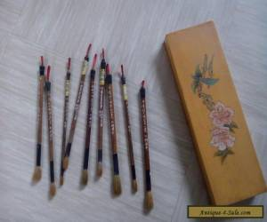 Nine vintage Chinese calligraphy brushes with box for Sale