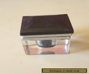 ART DECO  1920S  glass ink well Antique black glass top hinge top for Sale