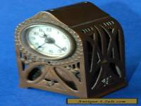 Gorgeous Little French Art Nouveau Pierced Copper Case c1910 Alarm Clock