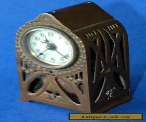 Gorgeous Little French Art Nouveau Pierced Copper Case c1910 Alarm Clock for Sale