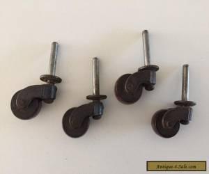 Set of 4 Vintage Wooden Furniture Wheels Casters  Rollers dresser feet Wood for Sale
