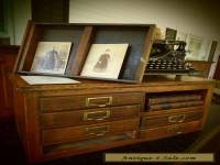 ANTIQUE OAK TABLE TOP PRINTERS CABINET- 6 DRAWER- PAPER SLOT