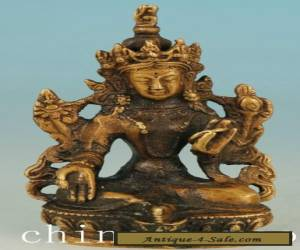 Asian Chinese Tibet Old Brass Handmade Carved Kwan-yin Collect Buddha Statue  for Sale