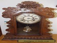 ANTIQUE Cir 1900 ANSONIA 8 DAY MANTLE CLOCK - OAK GINGERBREAD - OVERHAULED