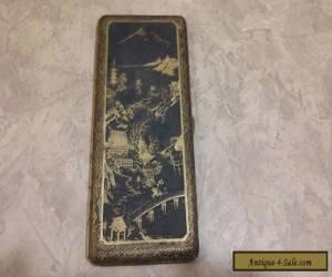 Beautiful Vintage Japanese Motif Mixed Metal Shakudo Gold Cigarette Case for Sale