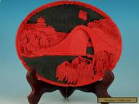 Asian Chinese Lacquer Handmade Carved Landscape Collect Plate And Wood Stand
