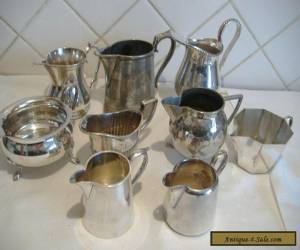 JOB LOT OF 9 VINTAGE PLATED JUGS. for Sale