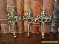Antique Set of 3 French Brass Cherub Hooks