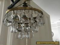 antique  vintage brass and large tear drop crystals chandelier