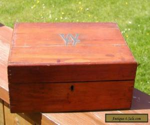 ANTIQUE CARVED WOODEN BOX WITH INNER SHELF LOVELY PATINA for Sale