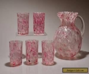 c. 1897 COIN DOT IVT OPTIC SPATTER Northwood PINK Spatter Ball Jug & 5 Tumblers for Sale