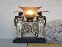 Table Lamp Vintage Art Deco Female Figure Subjects Screen Antique