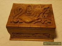 Vintage Chinese Wooden Box With Puzzle Lock And Carved Dragon Decoration
