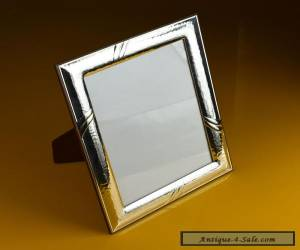 Beautiful Vintage Sterling Silver Photo Frame on Solid Wood base, European Made for Sale