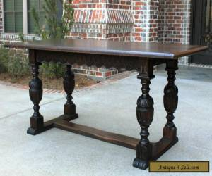 Antique French Carved Oak Farmhouse Trestle LARGE Dining Table Desk Pegged 1880s for Sale