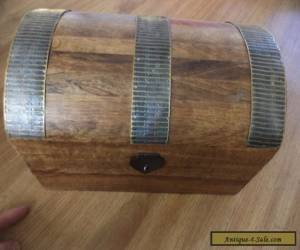 Large Brass  decorated  wooden box treasure chest shaped for Sale
