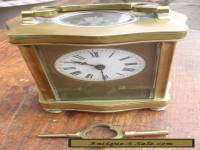 old English Brass & Bevelled Glass Carriage Clock with Key : Working
